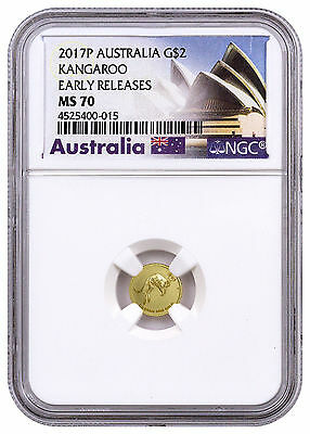 2017-P Australia 1/2 g Gold Kangaroo $2 NGC MS70 ER (Exclusive Label) SKU45785