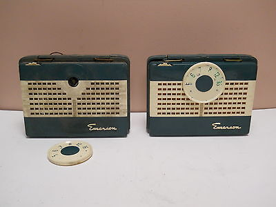 Vintage Old Emerson Green Plastic Tube Radio Portable Battery Model 850 am