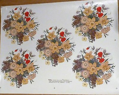 CERAMIC DECALS 5  BOUQUET ON A SHEET 13 cm ROUND RIGHT PRICE
