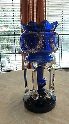 Antique Candle Lustres Lusters Mantle Blue Glass Lamp Hand Painted Prisms