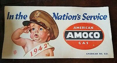 1942 Wwii Advertising Ink Blotter American Oil Co Amoco Gas Army Baby Salute