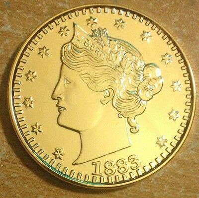 24K Gp 1 Oz Copper Round 1883 (Racketeer) Liberty V Nickel Without Cents Design