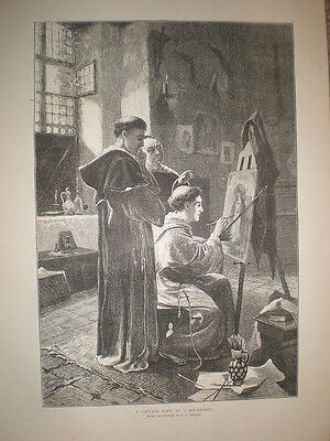 A Private View in a Monastery from L C Henley 1883 old print