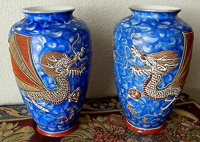 1890-1910 Japanese Winged Dragon Vases Heavy Moriage Marked Dai Nippon As Found