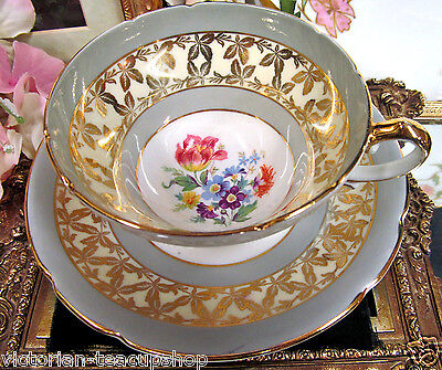 Stanley Tea Cup And Saucer Floral & Gray Border Teacup Wide Mouth Pattern