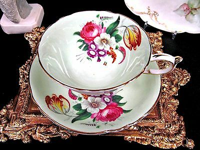 Paragon Rose Tulip Tea Cup And Saucer Pale Green Teacup Pattern