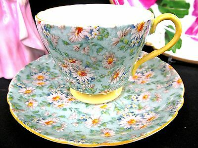 Shelley Tea Cup And Saucer Chintz Marguerite Daisy Pattern Teacup Footed