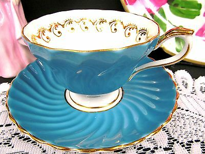 Aynsley Tea Cup And Saucer Baby Blue Swirls And Gold Gilt Teacup