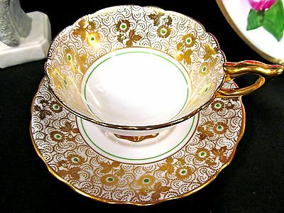 Royal Stafford  Tea Cup And Saucer Gold Gilt Floral Green Beaded Teacup Pattern