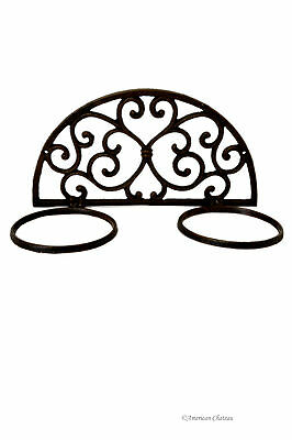 Cast Iron Metal Spanish Scroll Design Wall Mount Double Potted Plant Pot Holder