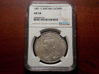 1891 Great Britain 1 Crown large silver coin NGC AU-58