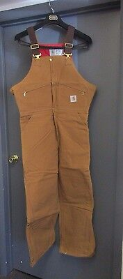 NEW Carhartt R38 Cotton Duck Quilt Lined Bib Overalls 42 X 30 Insulated USA