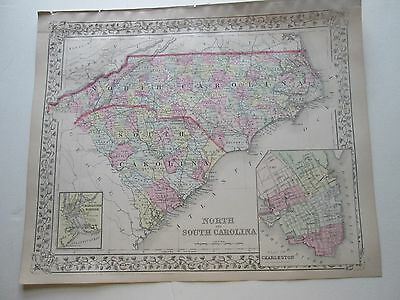 1884 S. AUGUSTUS MITCHELL MAP of NORTH CAROLINA & SOUTH CAROLINA, w/CHARLESTON