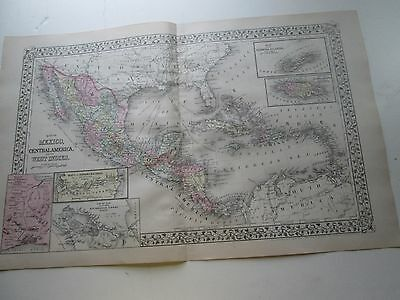 1884 S. AUGUSTUS MITCHELL MAP of MEXICO & CARIBBEAN; CUBA, ALASKA ON THE BACK.