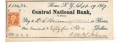 1867 CENTRAL NATIONAL  BANK of ROME, NEW YORK   WITH REVENUE
