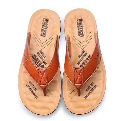 f0a7db7367c677 Fashion Men s flip flops Real leather Summer Slipper Sandals Beach slippers