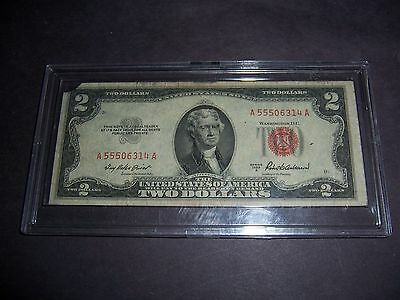 1953 A $2 Dollar Red Seal Bank Note In Display Case