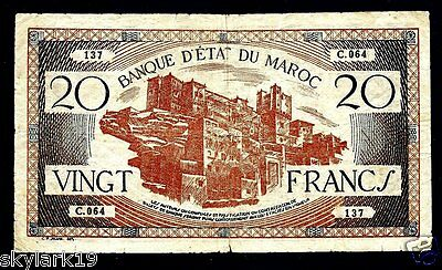 Morocco 20 Francs P39 F (1943) Buildings Hillside, Aerial View Of City