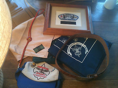 Lot Of Vintage Boy Scouts Of America B.s.a.-3 Scarfs,bolo Tie,belt,pins More!!