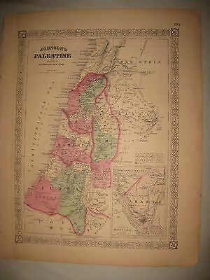 Large Gorgeous Antique 1868 Palestine Israel Johnson Handcolored Map Mount Sinai