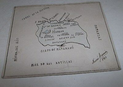 Vtg 1903 Hand Drawn & Signed Map of Cuba