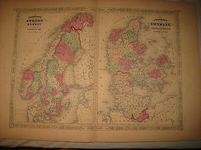 Huge Gorgeous Antique 1868 Sweden Norway Denmark Sleswick Johnson Handcolor Map