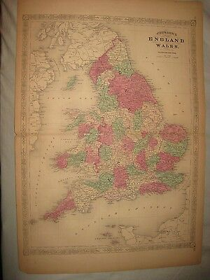Huge Gorgeous Antique 1868 England Wales Johnson Handcolored Map Isle Of Man Nr