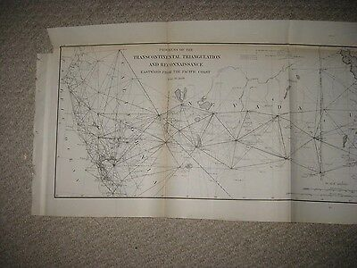 Large Antique 1889 California Pacific Coast Nevada Utah Colorado Map Rare Fine