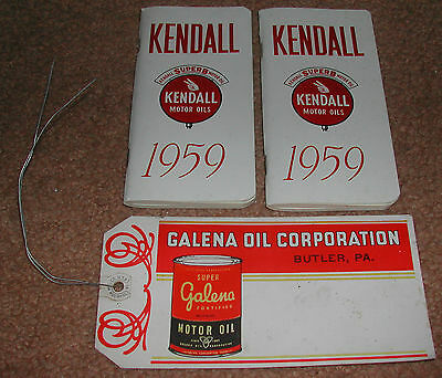 2 - 1959 Kendall Oil booklets and Galena Oil Corp. tag - NOS