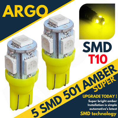 X2 T10 5 Smd Led Hid Super Large Sidelights Xenon Amber Ultra Bright