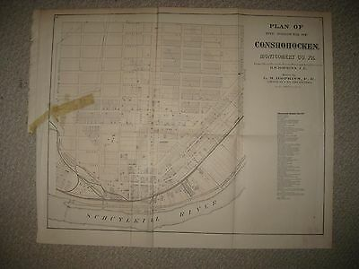 Huge Antique 1871 Conshohocken Montgomery County Pennsylvania Handcolored Map Nr