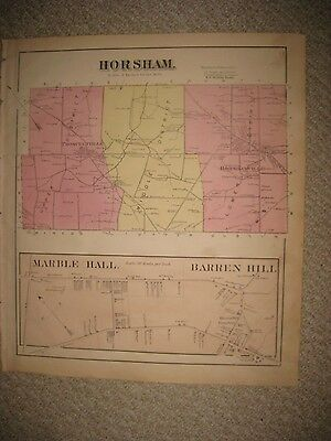 Antique 1871 Horsham Township Marble Hall Montgomery County Pennsylvania Map Rar