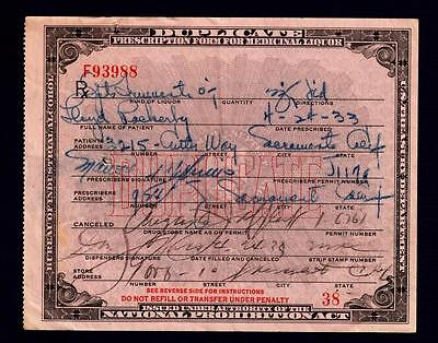 Prohibition Liquor Prescription 4/24/33 Lloyd Pharmacy Doctor Bar Sacramento CA
