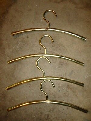 Vintage Set of 4 Brass Clothing Hangers Hollywood Regency Clothes Hanger Heavy