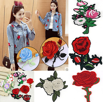 11pcs Embroidered Rose Flower Iron on Sew Bag Hat Dress Patch Badge Applique H7
