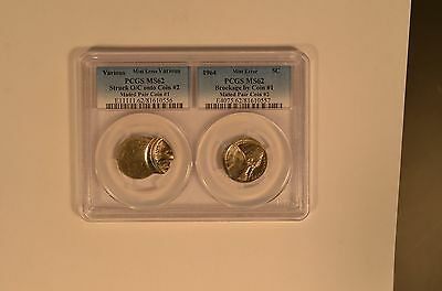 1964 Jefferson 5 cent mated pair of error coins in a unique 2 coin PCGS holder