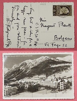 1937 Italy # 390 On Colle Isarco Cancel Town View Postcard To Bolzano