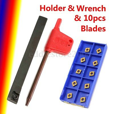 10PCS CCMT060204 Coated Carbide Inserts + SCLCR 8x8mm Lathe Turning Tool Holder