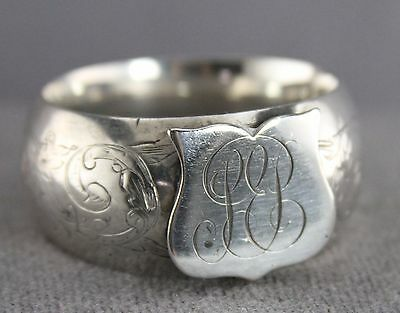 Antique Silver Napkin Ring Thin Walled Engraved Monogram No Assay Mark .75Oz
