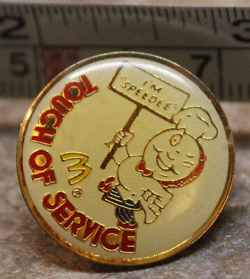 McDonalds Im Speedee Touch of Service Collectible Pinback Pin Button