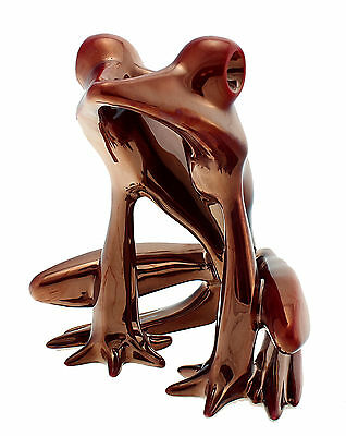 Large Zsolnay Red Iridescent Art Deco Frog Figurine