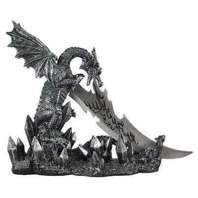 Wicked Fire Dragon Fantasy Knife & Holder Dagger New