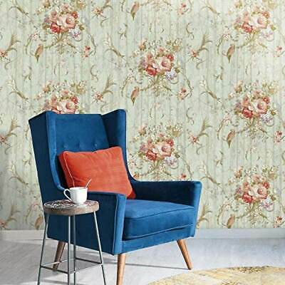 York HA1326 Vintage Victorian Floral Bird Rose Blue Green Rustic Wood Wallpaper