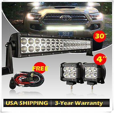 """32inch Curved LED Light Bar Combo +2x 4"""" CREE Pods Work Offroad SUV UTE Truck 30"""
