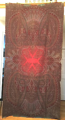 Antique Scottish Paisley Shawl Long Scarf With Beautiful Colors