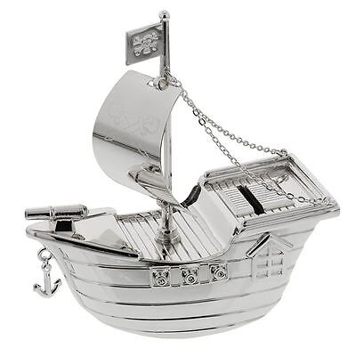 Christening Gifts Silverplated Pirate Ship Money Box Newborn Baby Gift NEW