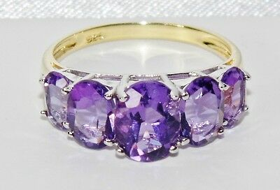 9ct Yellow Gold & Silver 3.75ct Amethyst 5 Stone Ladies Ring size M