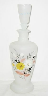 Frosted Blown Glass Decanter Hand Painted  w/ Shot Glass Stopper