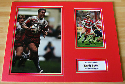 DENIS BETTS GENUINE HAND SIGNED AUTOGRAPH 16x12 PHOTO MOUNT WIGAN RUGBY & COA