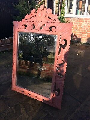 French painted antique carved wall mirror- early 1900s